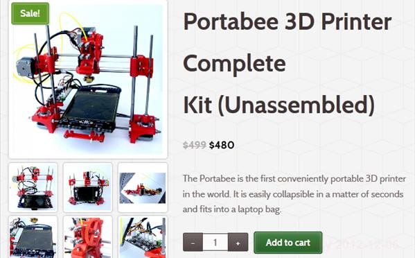 ポータブル3DプリンターPortabeeが6万円を切る価格で登場