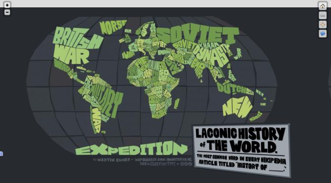 ウィキペディアで人気の単語で各国の歴史を表した世界地図