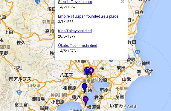 retred – 歴史上の人物の生まれた場所と死んだ場所をプロットした地図