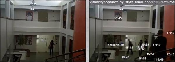 監視カメラの長時間画像を圧縮して短く見せるBriefCam