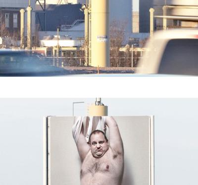 男性ストリッパーを使った脅迫看板広告