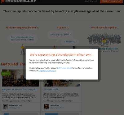 人工「バルス!」生成サービスのThunderclapが注目を集めるも、いきなりツイッター社からブロックされる