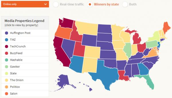 アメリカ・メディアマップ – Twitterで共有される人気メディアとその地域性がわかるインタラクティブマップ