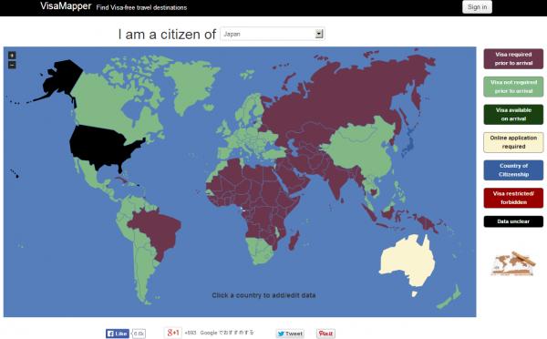 VisaMapper – 世界各国の「入国ビザ必要度」を可視化