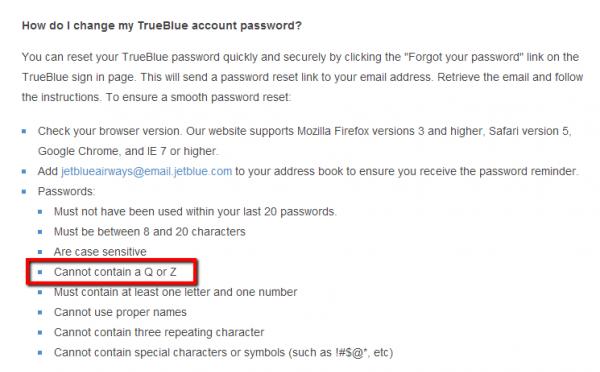 """""""Q""""と""""Z""""がパスワードに使えない! 格安航空会社ジェットブルーの謎"""