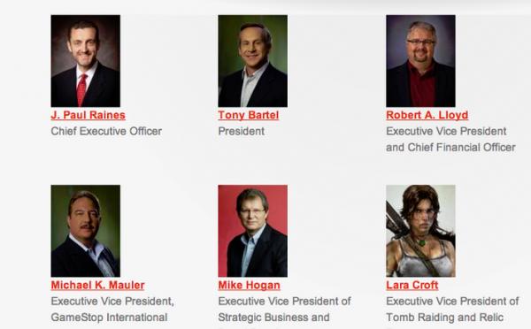 企業サイトの重役リストにトゥームレイダーのララ・クロフトが