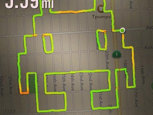 ジョギングの軌跡で絵を描くブロガー