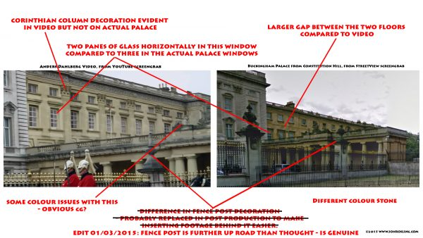 検証者Jon Rosling氏による本物と動画のバッキンガム宮殿比較