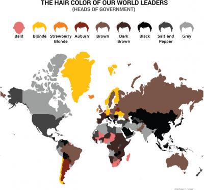 各国の指導者の髪の色で塗った世界地図