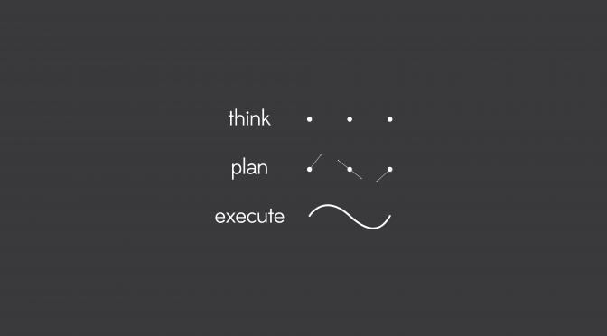 考える、計画する、実行するの図 Think, Plan, Execute