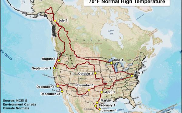 一年中快適な気温21℃で暮らしつつアメリカを周るための地図
