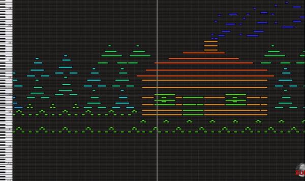 ピアノロールがそのまま物語の絵にもなっている曲
