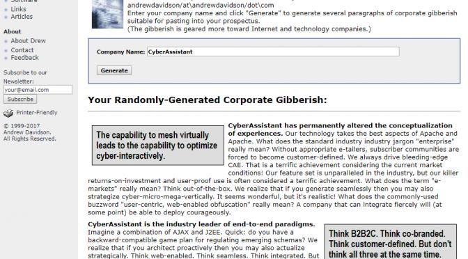 Corporate Gibberish Generator – 企業名からIT企業のそれっぽすぎる紹介文を作るジェネレーター