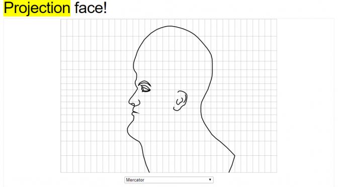 人間の顔を、世界地図の「図法」で表すとこうなる、というコード