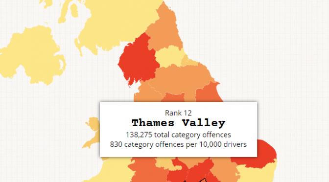 イギリスの交通違反の悪質な地域を可視化したインタラクティブ地図
