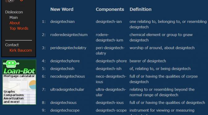 Dislexicon – 英語サービスの命名等に、造語作成を支援してくれるサービス