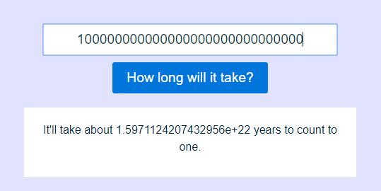 Counter – 英語でいくつまで数えると何時間(あるいは何十年)かかるか