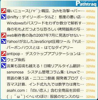 pathtraq widgets 画面