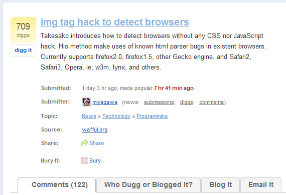 Digg - img tag hack to detect browsers