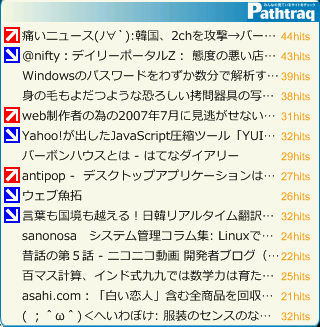 pathtraq widgets 画面