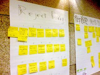 RejectKaigi2007の発表順(ポストイットで募集・告知)